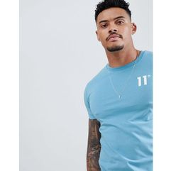 11 degrees muscle fit t-shirt in light blue with logo - blue