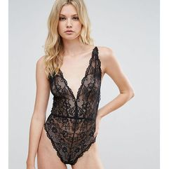 blair high leg lace body with lace up back - black, Asos tall