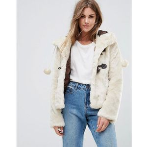 Urban bliss hooded faux fur jacket with pom poms - cream