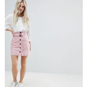 ASOS PETITE Tailored Linen Paperbag Mini Skirt - Pink