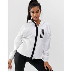 adidas Training Three Stripe Wind Jacket In White - White, kolor White
