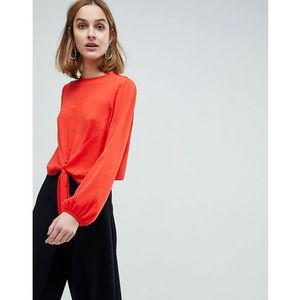 Asos design Asos woven top with knot front - red