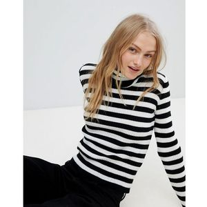 Daisy Street Roll Neck Jumper In Stripe - Black, kolor czarny