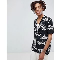 AllSaints Long Sleeve Revere Shirt In Black With Leaf Print - Black, kolor czarny