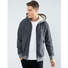 zipfront hoodie borg lined in heather grey - grey marki Abercrombie & fitch