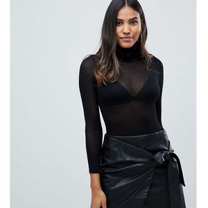 sheer knit polo neck body - black marki Parallel lines