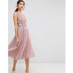Asos salon sequin mesh fit and flare midi dress - pink marki Asos edition