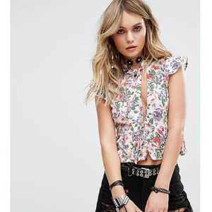 Motel tie neck top in floral with deep v cut out - multi