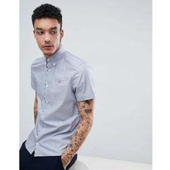 Aquascutum Kedge Club Check Detail Short Sleeve Shirt In Navy - Navy