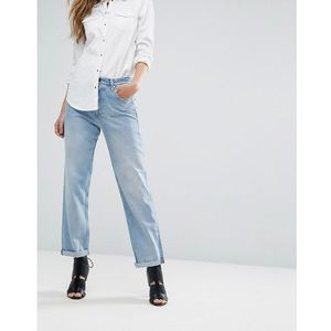 Replay high waist slouchy boyfriend jean with slogan back pocket - blue