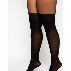 mock over the knee tights with support - black marki Asos curve