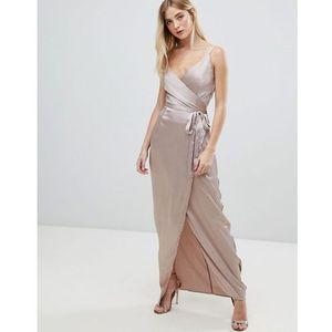 v neck wrap maxi dress - pink marki Girl in mind
