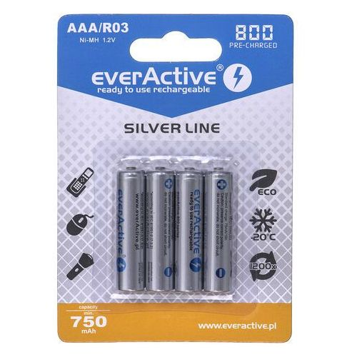 "4x everActive R03/AAA Ni-MH 800 mAh ready to use ""Silver line"""