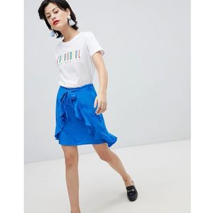 wrap ruffle mini skirt - blue marki River island