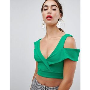 River island structured cold shoulder crop top - green