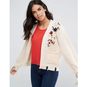 Amy lynn cardigan with floral embroidery and pocket detail - cream