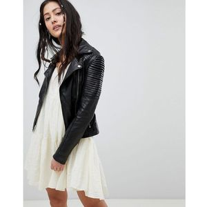 Barney's Originals leather biker jacket with shoulder detail - Black, skóra