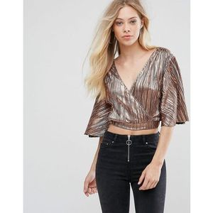 Oh my love pleat batwing top with wrap front - gold