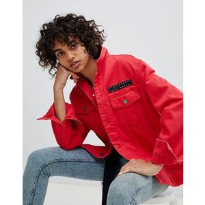 Cheap monday oversized denim jacket with logo label - red