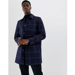 single breasted trench in navy check - navy marki Asos design