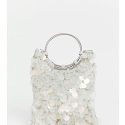 Accessorize embellished mermaid sequin clutch bag with ring handle detail - Multi