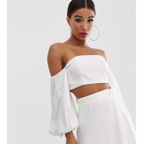 Yaura bandeau top with balloon sleeve co ord in white - White