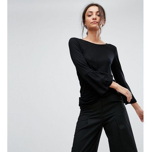 Y.A.S Tall Slub Ruffle Front Jersey Top - Black